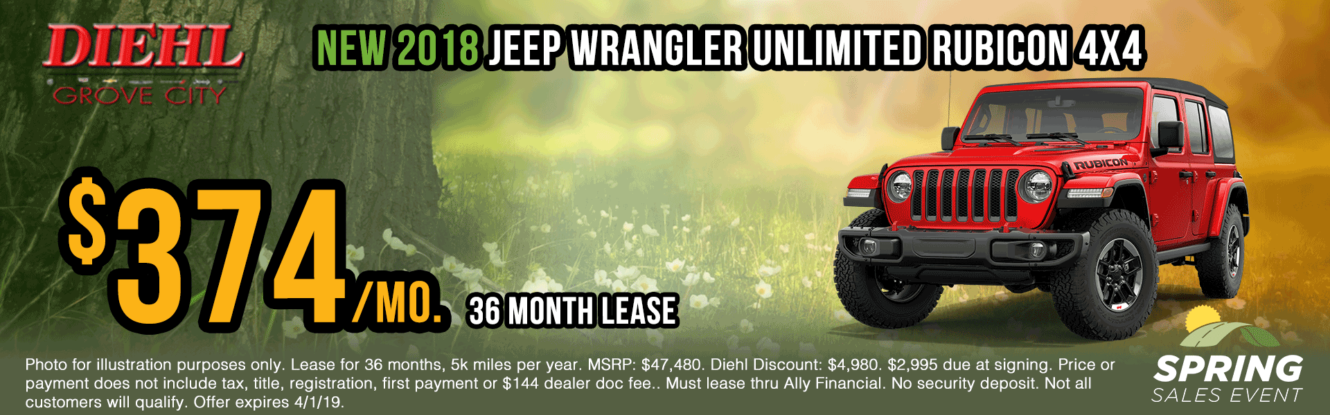 J1243-2018-jeep-wrangler-unlimited-rubicon Spring sales event jeep specials Chrysler specials ram specials dodge specials mopar specials new vehicle specials Diehl automotive Diehl Robinson Diehl of grove city specials lease specials