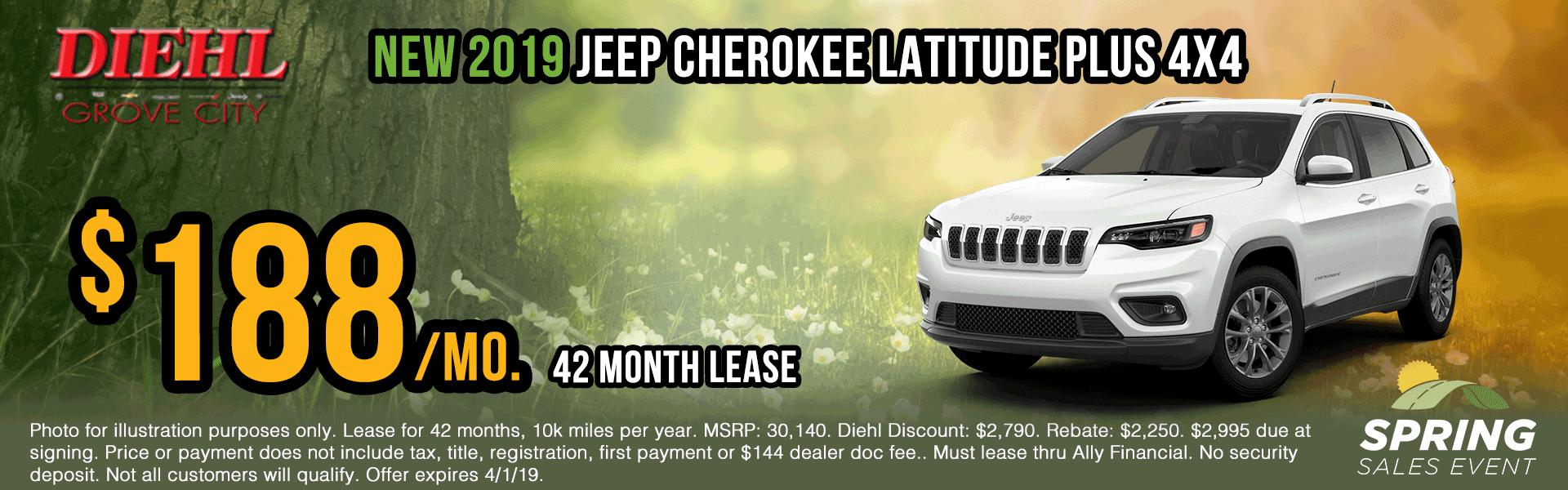 J1379-2019-jeep-cherokee-latitude-plus Spring sales event jeep specials Chrysler specials ram specials dodge specials mopar specials new vehicle specials Diehl automotive Diehl Robinson Diehl of grove city specials lease specials