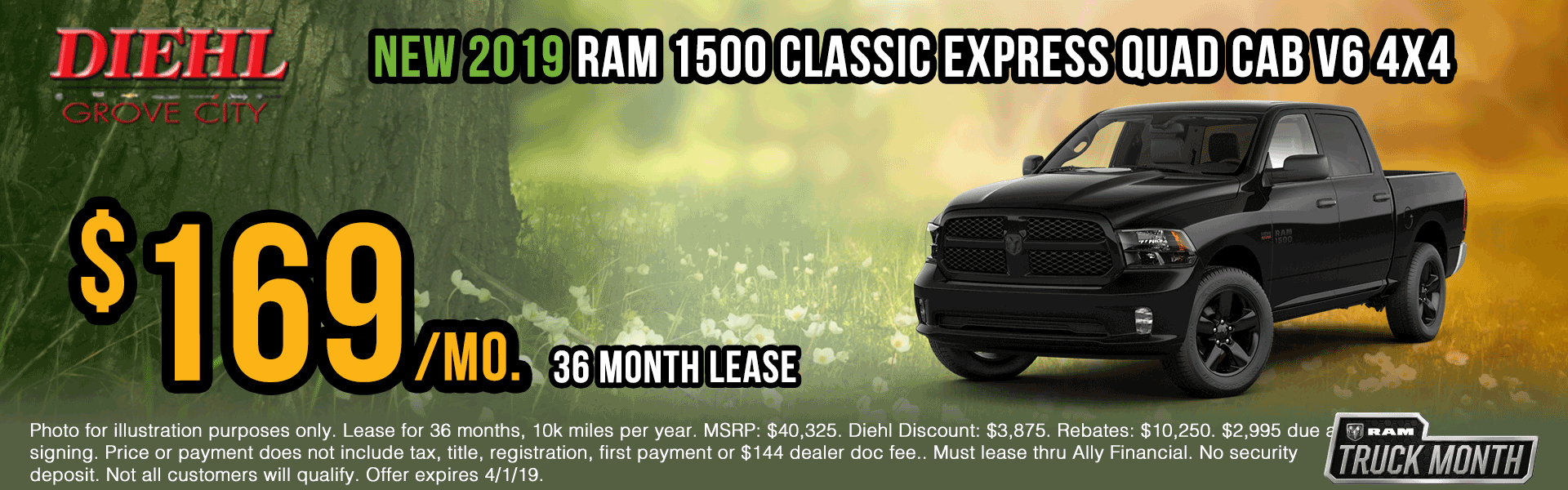 R598-2019-ram-1500-classic-express Spring sales event jeep specials Chrysler specials ram specials dodge specials mopar specials new vehicle specials Diehl automotive Diehl Robinson Diehl of grove city specials lease specials ram truck month