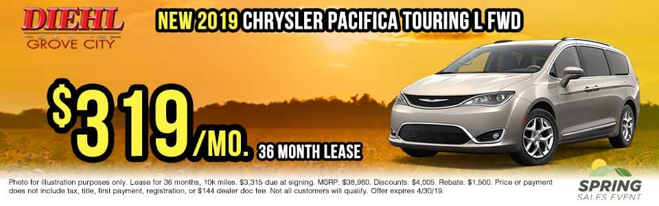C282-2019-chrysler-pacifica Spring sales event jeep freedom days dodge performance days new vehicle specials lease specials vehicle sales jeep special dodge special Chrysler special ram special diehl auto grove city