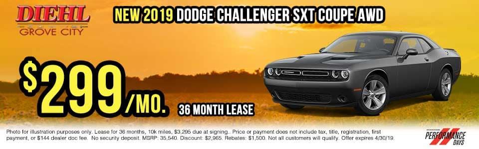 D437-2019-dodge-challenger-sxt Spring sales event jeep freedom days dodge performance days new vehicle specials lease specials vehicle sales jeep special dodge special Chrysler special ram special diehl auto grove city