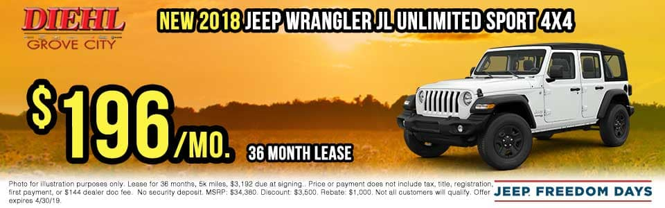 J1200-2018-Jeep-Wrangler-Unlimited Spring sales event jeep freedom days dodge performance days new vehicle specials lease specials vehicle sales jeep special dodge special Chrysler special ram special diehl auto grove city