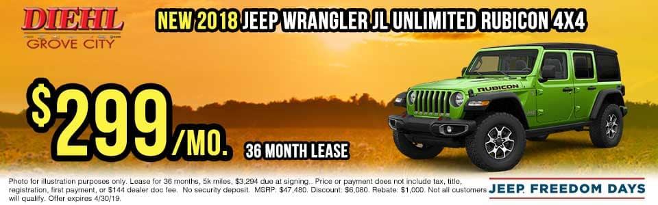 J1243-2018-jeep-wrangler-rubicon Spring sales event jeep freedom days dodge performance days new vehicle specials lease specials vehicle sales jeep special dodge special Chrysler special ram special diehl auto grove city