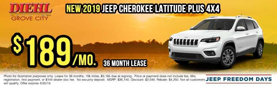 J1380-2019-jeep-cherokee-latitude Spring sales event jeep freedom days dodge performance days new vehicle specials lease specials vehicle sales jeep special dodge special Chrysler special ram special diehl auto grove city