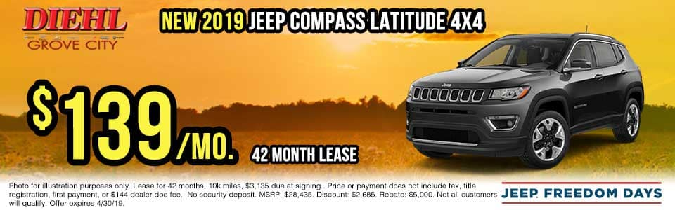 J1389-2019-jeep-compass-latitude Spring sales event jeep freedom days dodge performance days new vehicle specials lease specials vehicle sales jeep special dodge special Chrysler special ram special diehl auto grove city