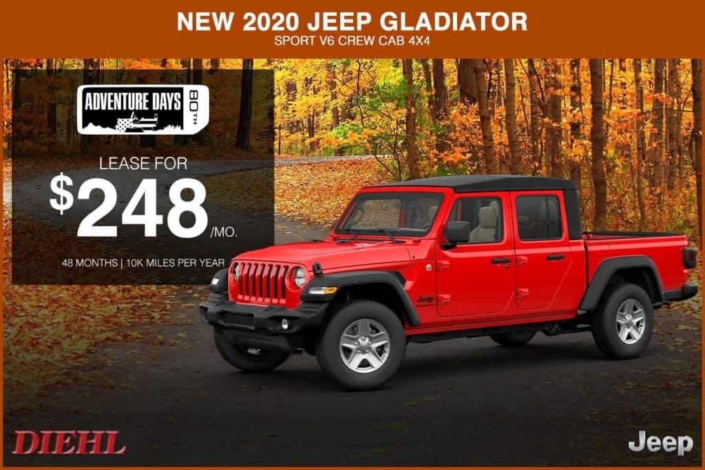 NEW 2020 JEEP GLADIATOR SPORT V6 CREW CAB 4X4