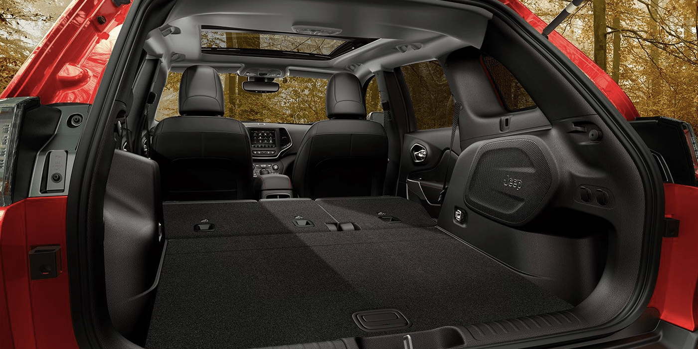 2019 Jeep Cherokee trunk space with back seats folded down