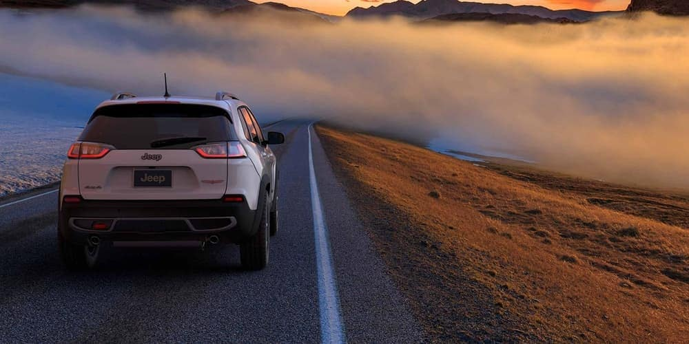 2019 Jeep Cherokee on foggy road