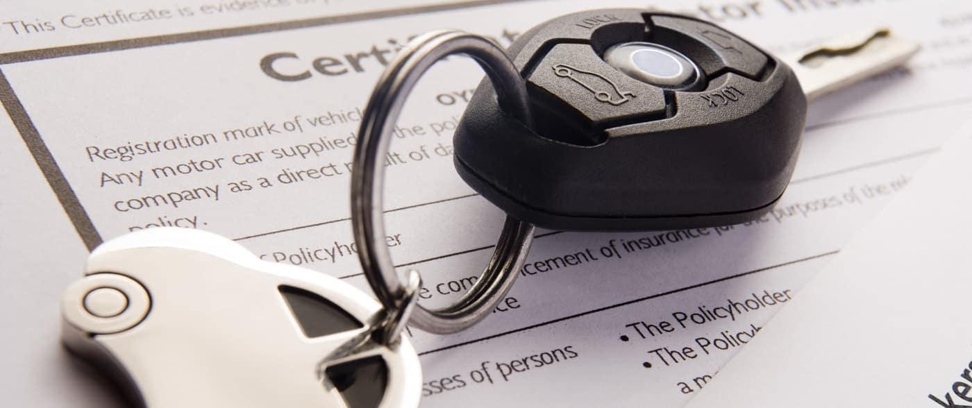 gap insurance paperwork with car key