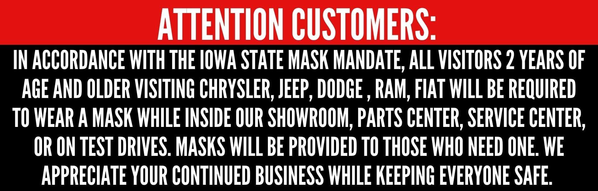 Must wear mask at Edwards CDJR