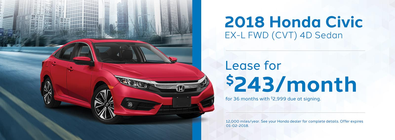 Genthe Honda Homepage Lease Offer Banner Civic-EX-L