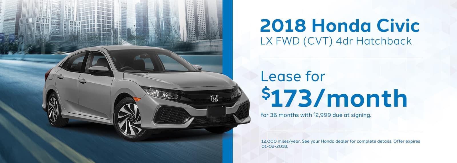 Genthe Honda Homepage Lease Offer Banner Civic-LX-Hatchback
