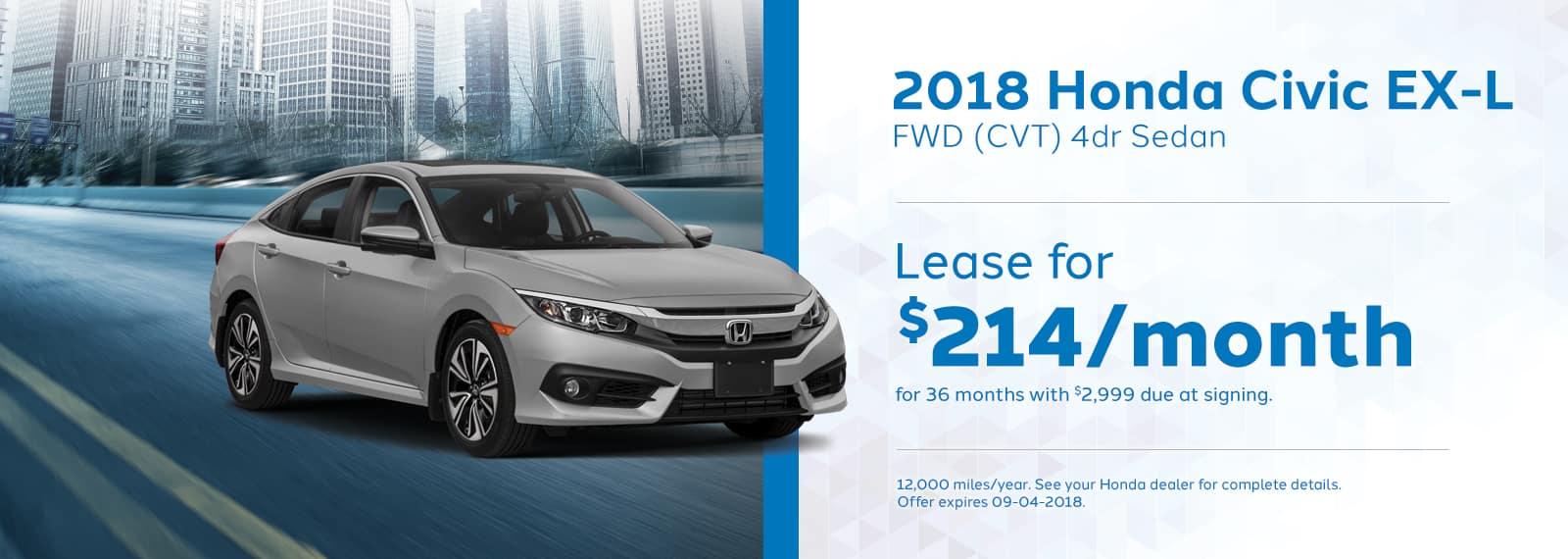 2018 Honda Civic EXL Genthe Honda Lease Special Offer