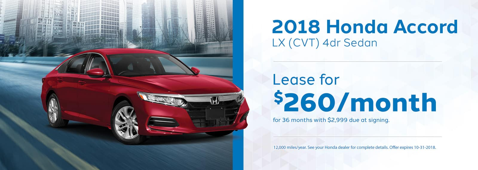 Accord LX Genthe Honda Lease Offer September 2018 Homepage