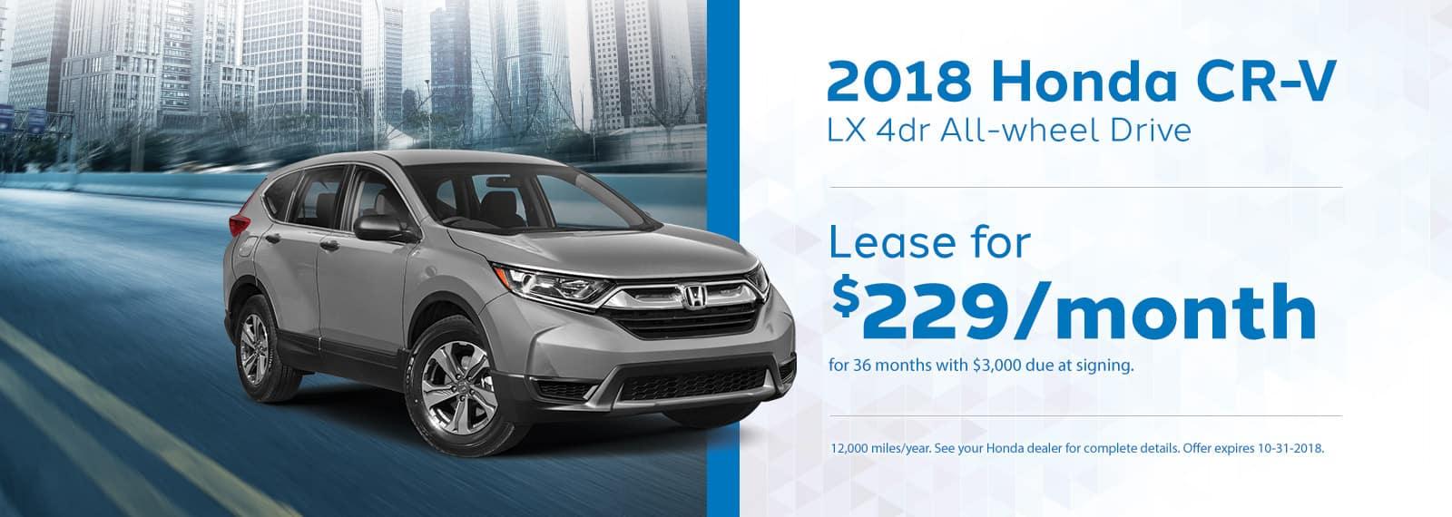 CRV Genthe Honda Lease Offer September 2018 Homepage