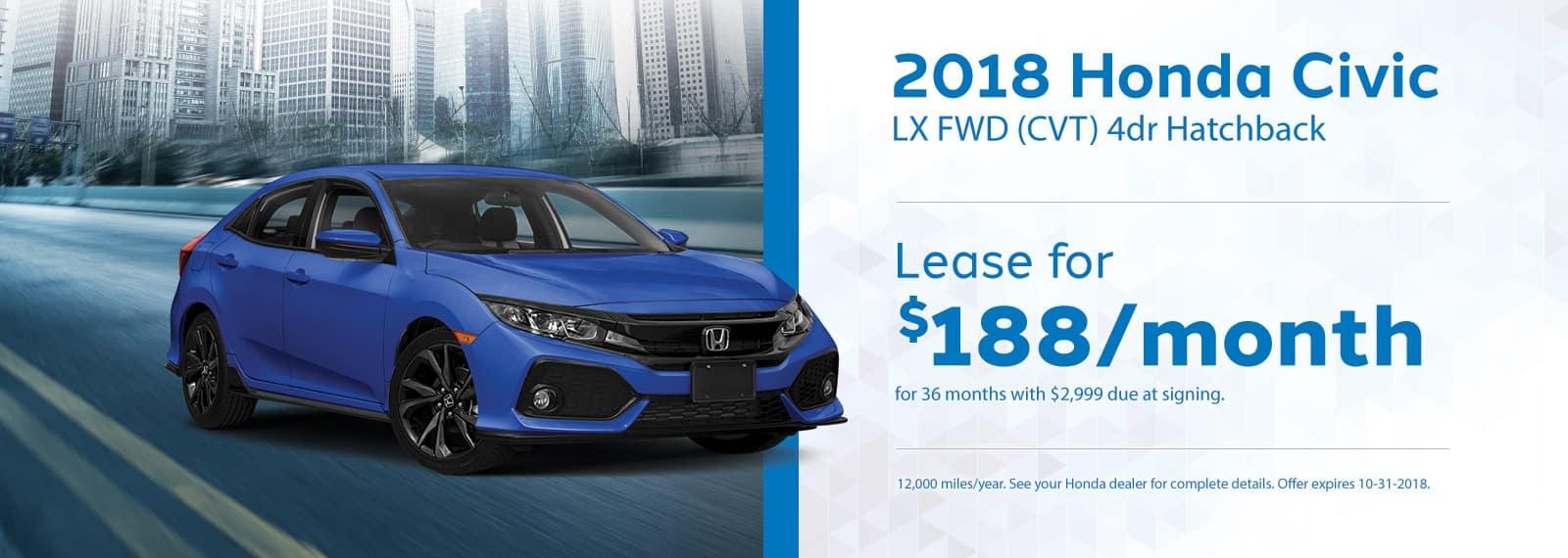 Civic Hatchback Genthe Honda Lease Offer September 2018 Homepage