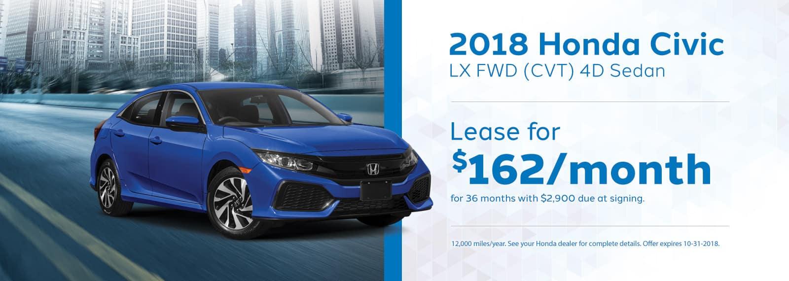 Civic LX Genthe Honda Lease Offer September 2018 Homepage