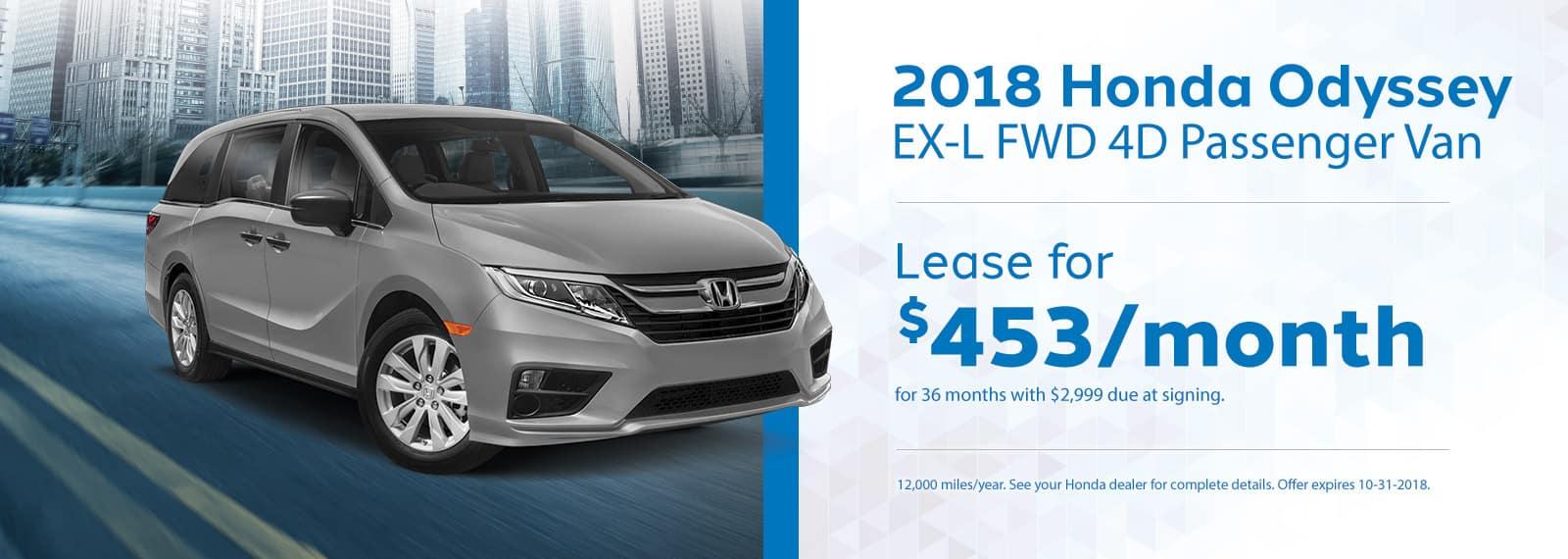 Odyssey EL-XGenthe Honda Lease Offer September 2018 Homepage