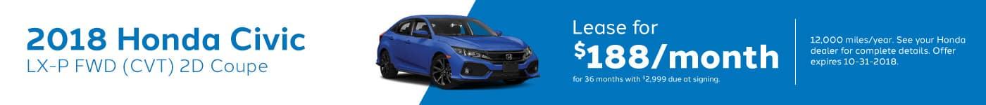 Civic Hatchback Genthe Honda Lease Offer September 2018