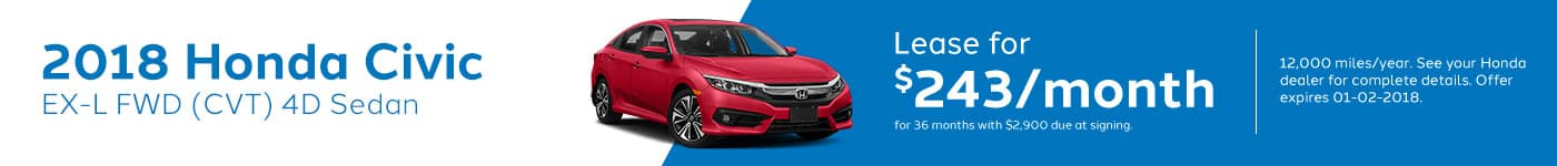 Genthe Honda SRP Banner Lease Offer Civic-EX-L
