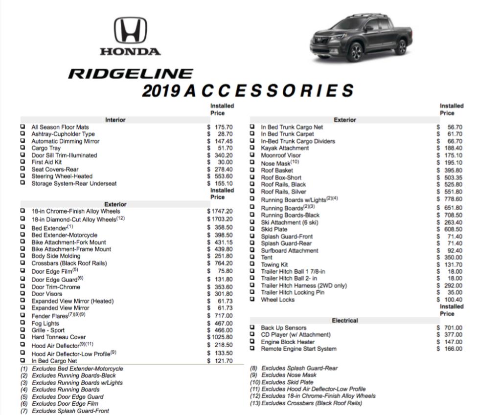 2019 Ridgeline Accessories