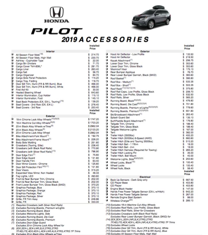 2019 Pilot Accessories