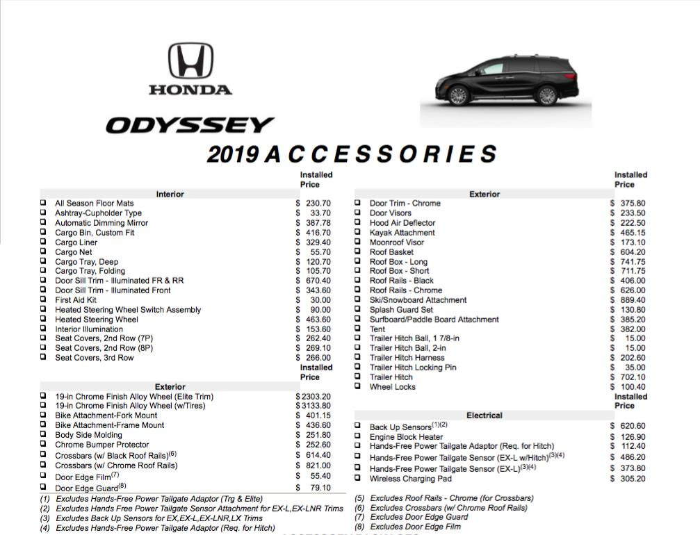 2019 Odyssey Accessories