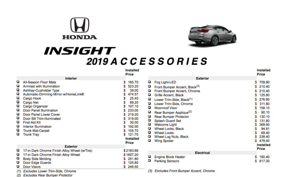 2019 Insight Accessories