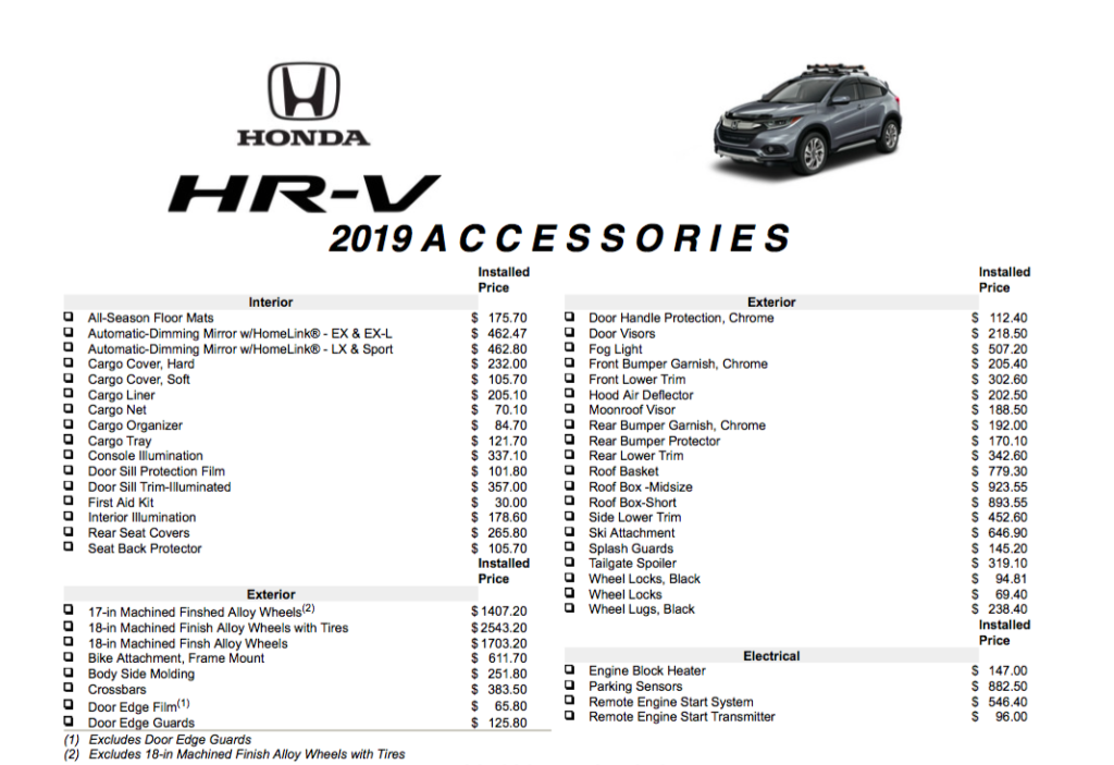 2019 HR-V Accessories