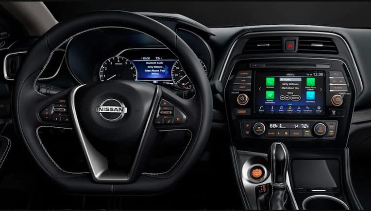 2019 Nissan Maxima interior steering wheel and touchscreen