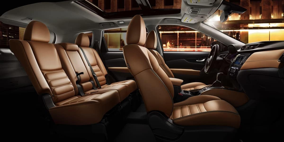 2019 Nissan Rogue interior in deep tan leather