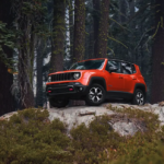 Orange 2021 Jeep Renegade in the Woods