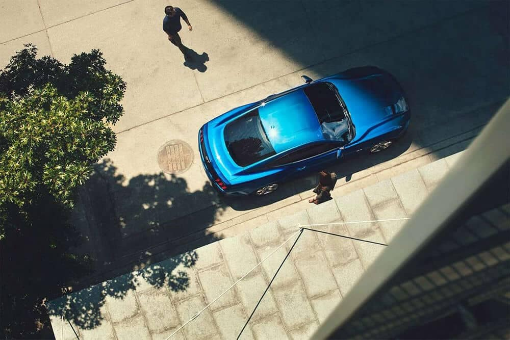 Blue Mustang Parked Aerial view