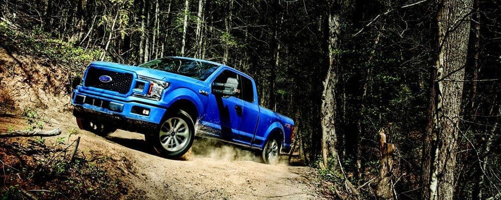 2018 Ford F-150 STX in Lightning Blue on Trails in Woods