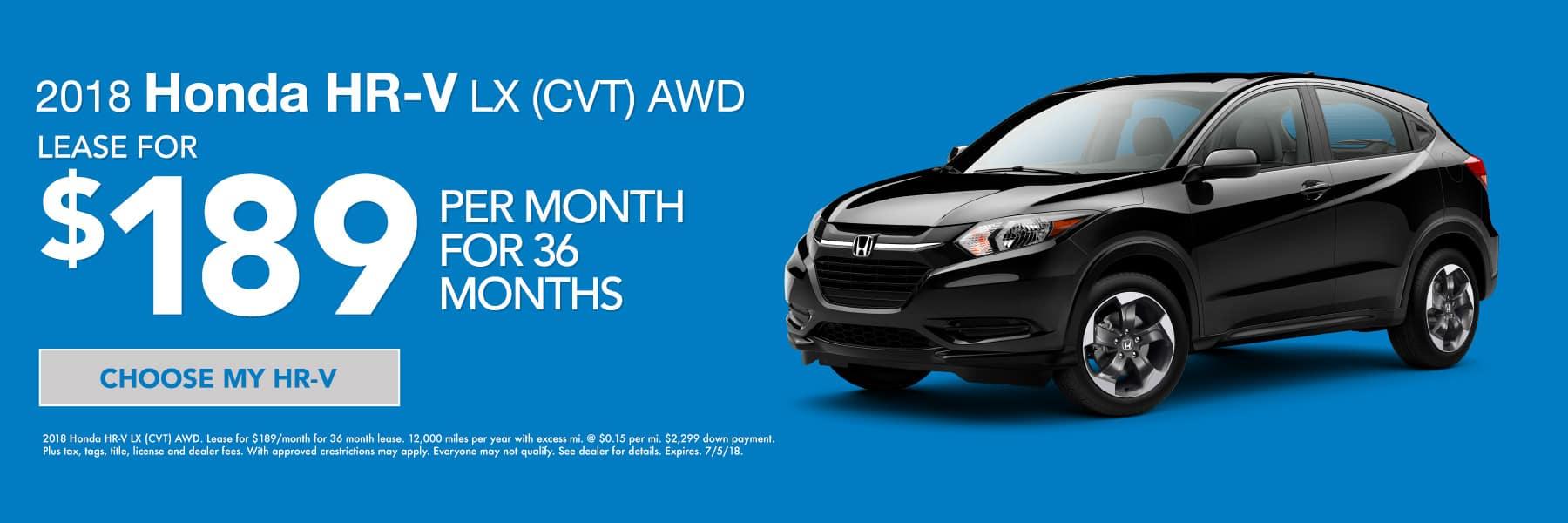 2018 Honda HR-V LX AWD - Lease for $189/mo. for 36 mos. Expires 7/5/18