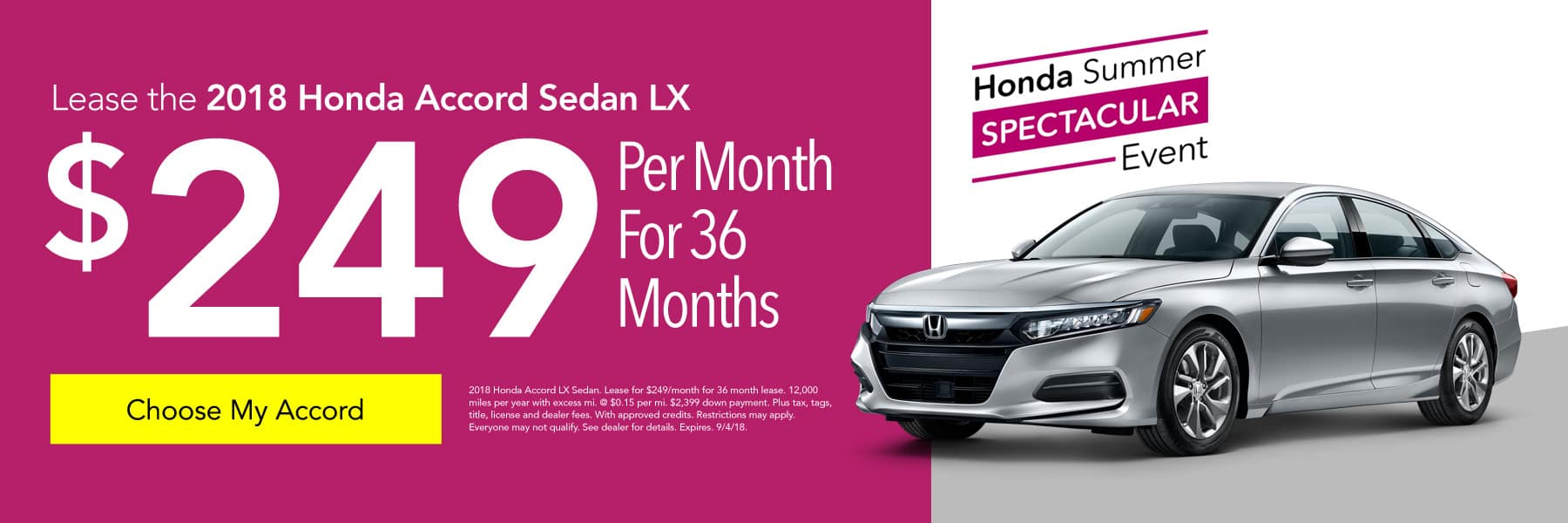 Lease the 2018 Honda Accord Sedan LX for $249/month for 36 months - Choose My Accord
