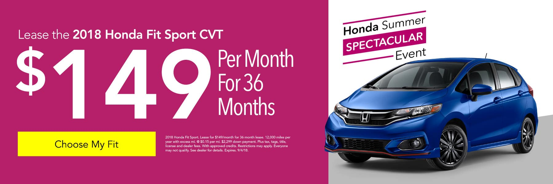 Lease the 2018 Honda Fit Sport CVT for $149/month for 36 months - Choose My Fit