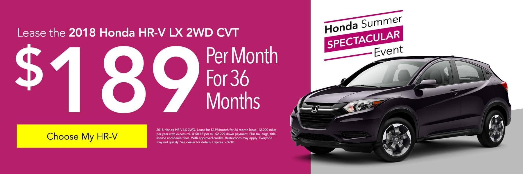 Lease the 2018 Honda HR-V LX 2WD CVT for $189/month for 36 months - Choose My HR-V