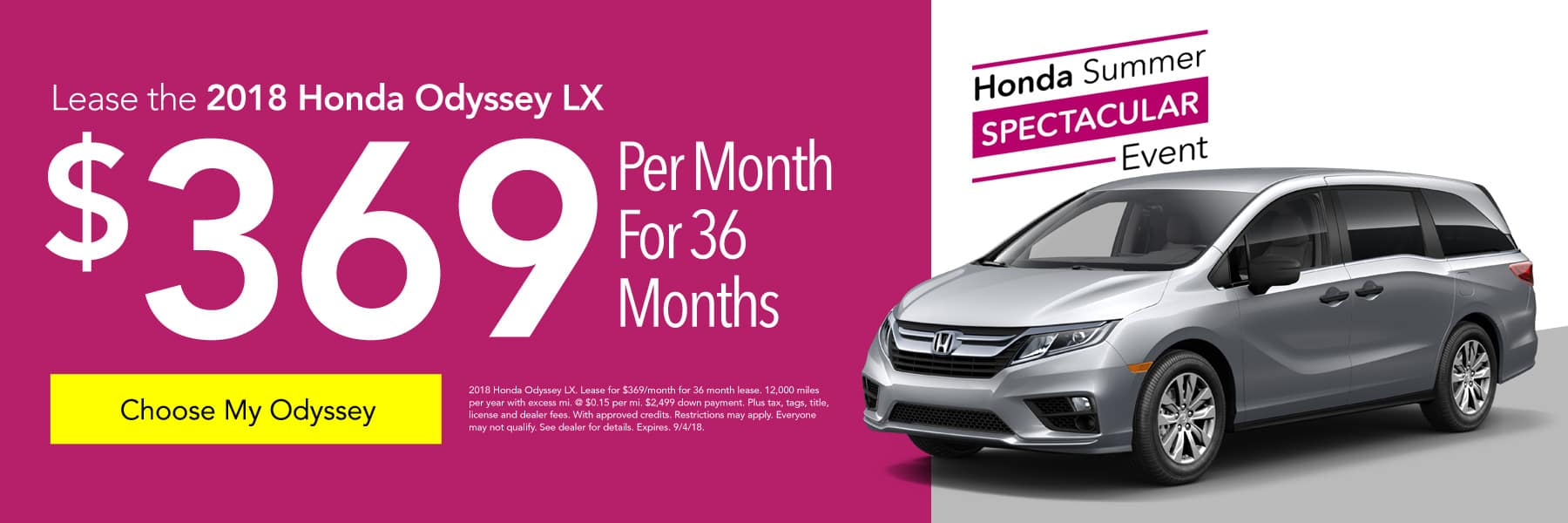Lease the 2018 Honda Odyssey LX for $369/month for 36 months - Choose My Odyssey
