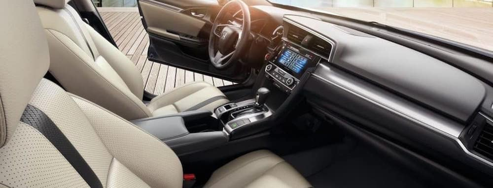 2018 civic sedan front passenger point of view with beige interior