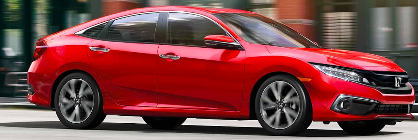 2019 honda civic red on road