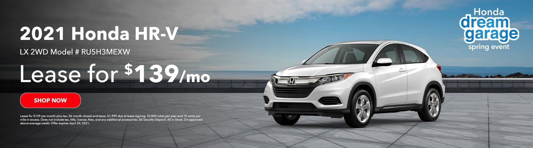2021 Honda HR-V LX 2WD, Lease for $139 per month