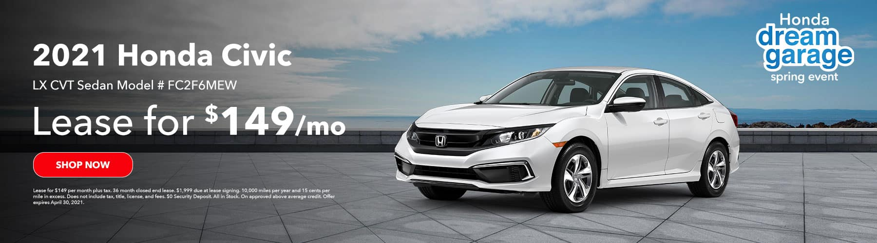 2021 Honda Civic LX CVT, Lease for $149 per month