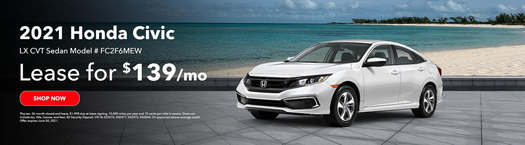 2021 Honda Civic LX Sedan Model # FC2F6MEW