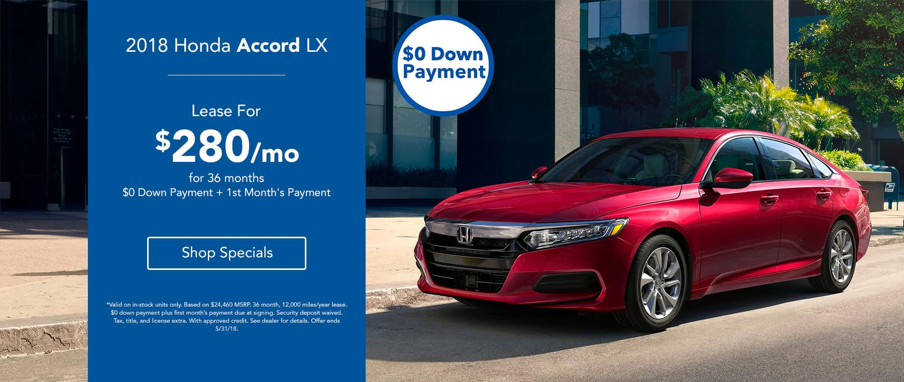 2018 Honda Accord LX - Lease for $280/mo