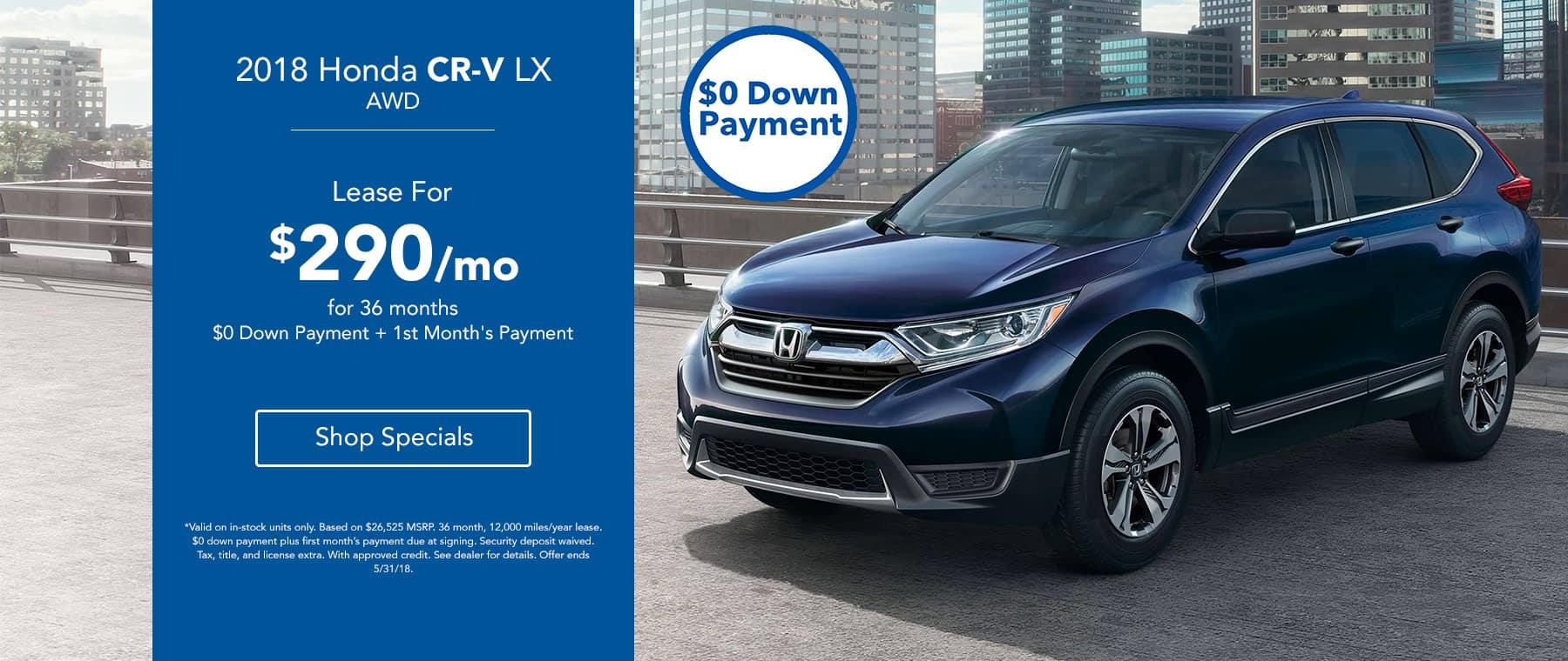 2018 Honda CR-V LX - Lease for $290/mo