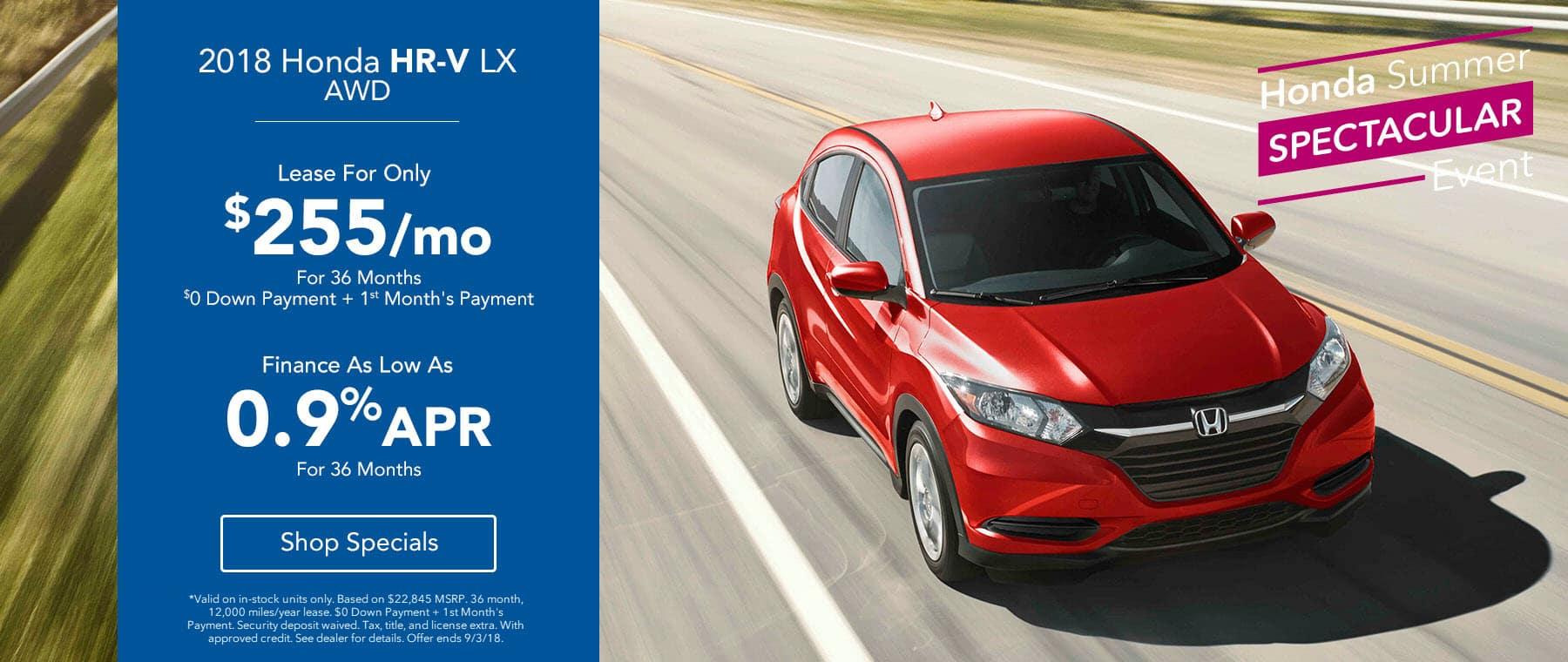 2018 Honda HR-V LX AWD - Lease for $255/mo