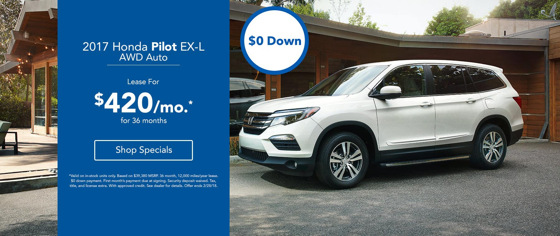 Honda Pilot Lease for $420/mo.