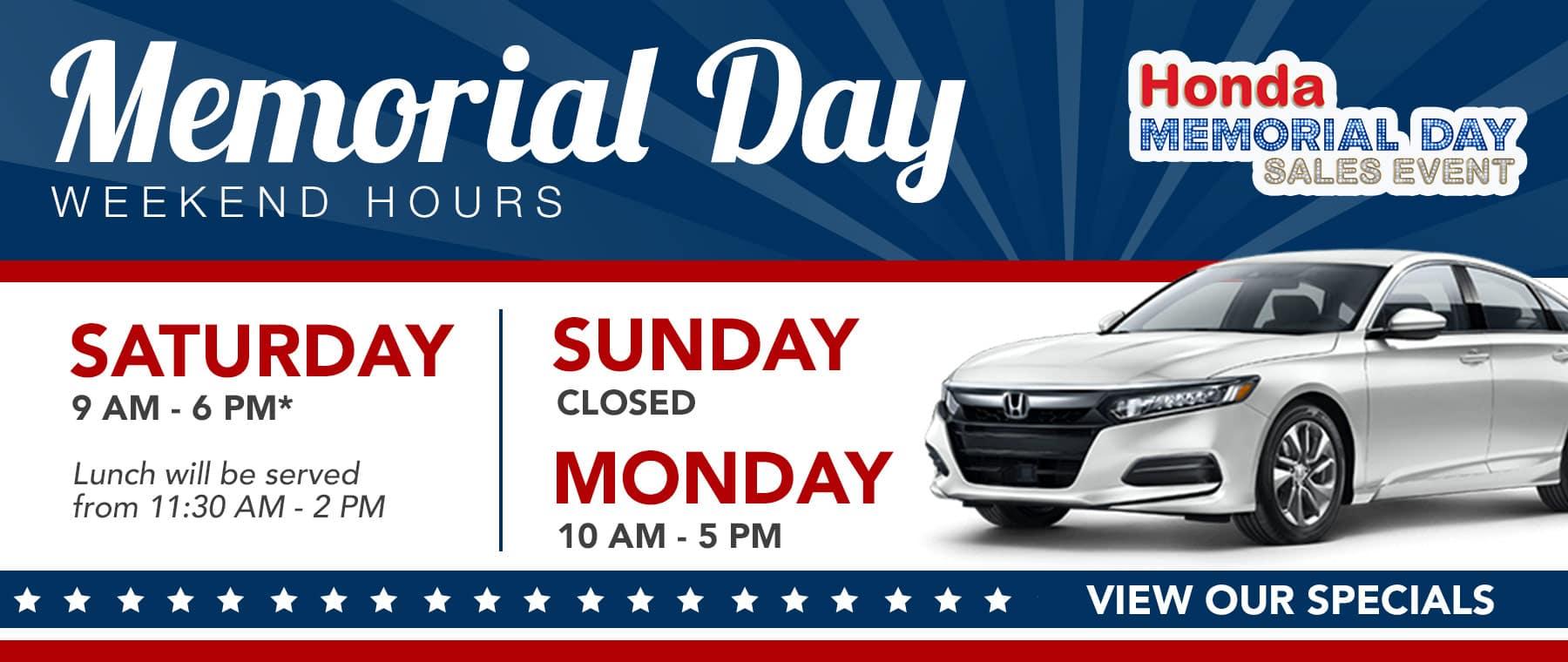 Memorial Day Weekend Homepage Banner