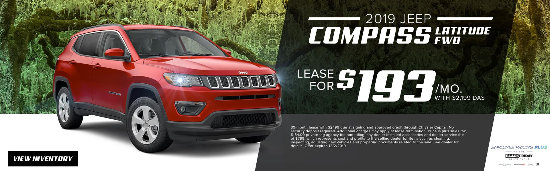 2019 Jeep Compass Latitude FWD | Lease For $193 Per Month With $2,199 Due At Signing